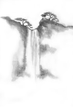 Waterfall Drawn In Ink. Landscape Of A Mountain Of Water By Ink. Chinese Ink Painting. Painting On Raw Sheet
