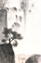 Waterfall Drawn In Ink. Landsc...