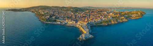 aerial panorama of Piombino city in Tuscany in Italy big size