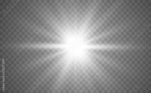 Fototapeta Bright beautiful star. Light from the rays obraz na płótnie