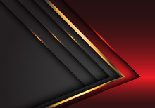 Abstract Red Grey Gold Arrow M...