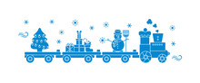 Train Carries Christmas Tree, Snowman, Gifts.