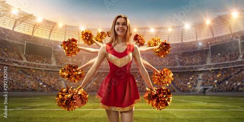 Fotografía A cheerleader in action on the professional stadium