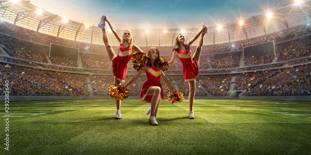 Fototapeta Group of cheerleaders in action on the professional stadium. The stadium and crowd are made in 3d