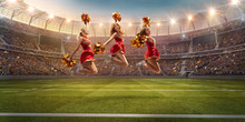 Group Of Cheerleaders In Action On The Professional Stadium. The Stadium And Crowd Are Made In 3d