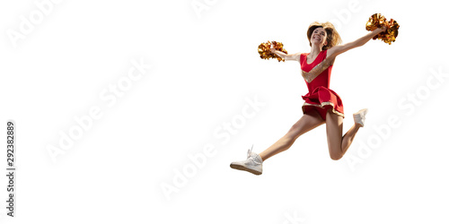 Cuadros en Lienzo Isolated cheerleader in action on white background.