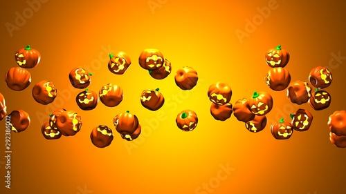 Jack O Lanterns.3D render illustration. Wallpaper Mural