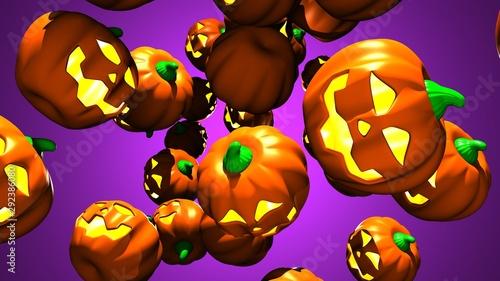 Jack O Lanterns.3D render illustration. Canvas Print