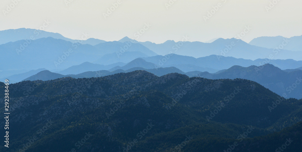 Fototapety, obrazy: Looking at the Mountains from the summit