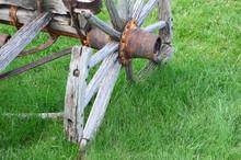 Broken Wooden Wagon Wheel