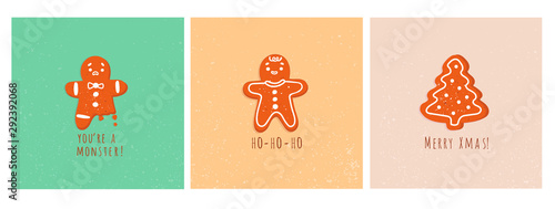 Cute gingerbread man cookies and christmas tree Canvas Print
