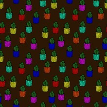 Seamless Pattern With Cactuses