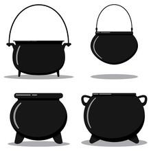 Flat Designcartoon Style Illustration Vector Set Black Cast-iron Empty Cooking Pot, Camping Boiler, Iron Witch Cauldron.