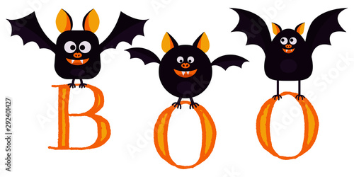 Obraz na plátne Flat design vector illustration, cartoon cute smilling black bats fly with letters boo in paws isolated on white background