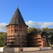 Smolensk, Russia, Thunder Tower In Summer Day On Blue Sky Background