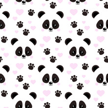 Vector Flat Design Seamless Pattern With Cute Baby Panda Face With Pink Hearts Footprints Ornament On White Background.