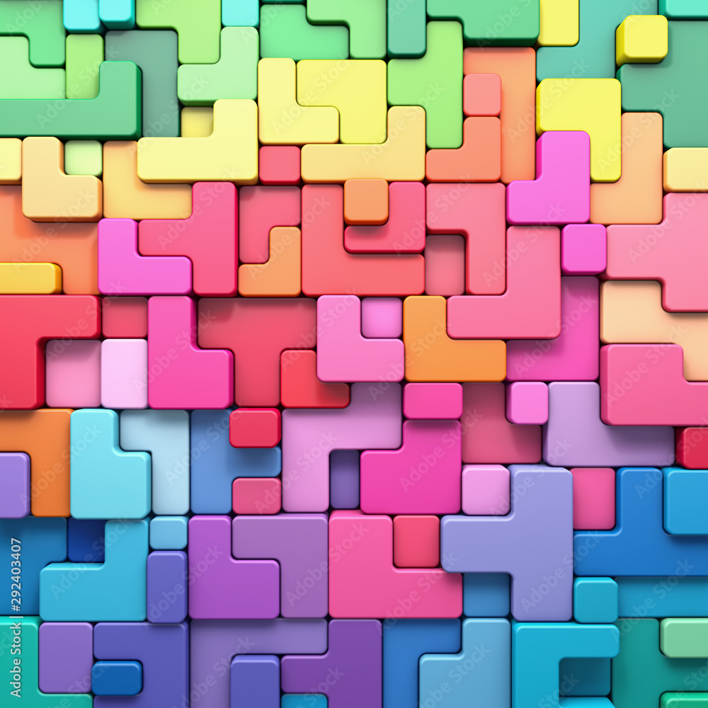 Fototapety, obrazy: 3D rendering abstract background of multi-colored rounded shapes