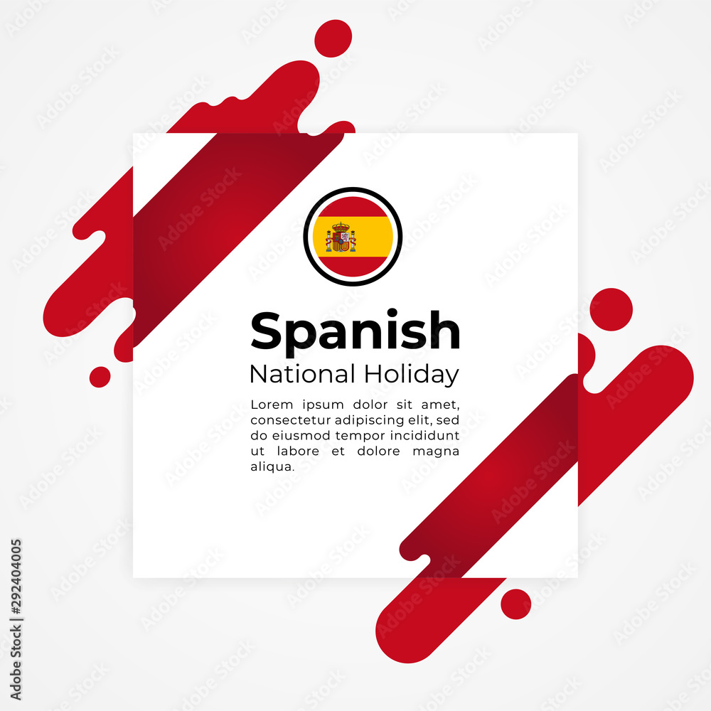 Fototapeta Happy Spanish National Holiday Vector Design Template Illustration