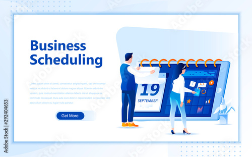 Business schedule flat web page design template of homepage or header images decorated people for website and mobile website development Canvas Print