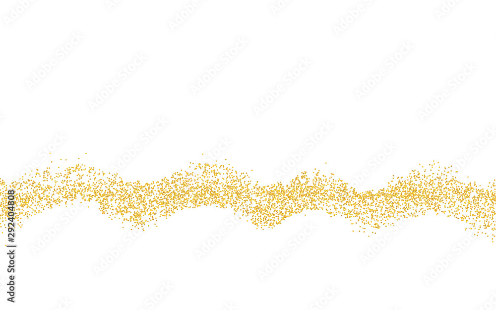 Fototapety, obrazy: Horizontal wavy strip sprinkled with crumbs golden texture. Background Gold dust on a white background. Sand particles grain or sand. Vector backdrop golden path pieces grunge for design illustration