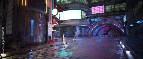 Photorealistic 3d illustration of the futuristic city in the style of cyberpunk. Empty street with bright neon lights and luminous billboards. Beautiful night cityscape.