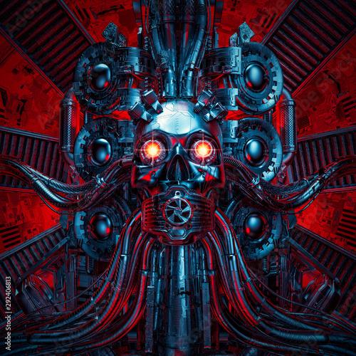 Photo  Heavy metal dreams / 3D illustration of science fiction scary robotic skull arti