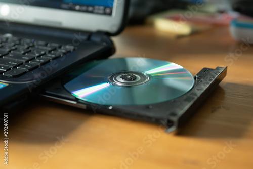 Fotografía  CD in the laptop cd/dvd drive