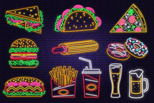 Retro Neon Burger, Cola, Popcorn, French Fries And Fast Food Sign On Brick Wall Background. Design For Cafe Vector. Neon Design For Pub Or Fast Food Business. Light Sign Banner. Glass Tube