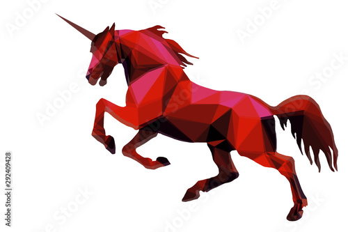isolated image in the style of love poly, a red unicorn jumps on a white back Canvas Print