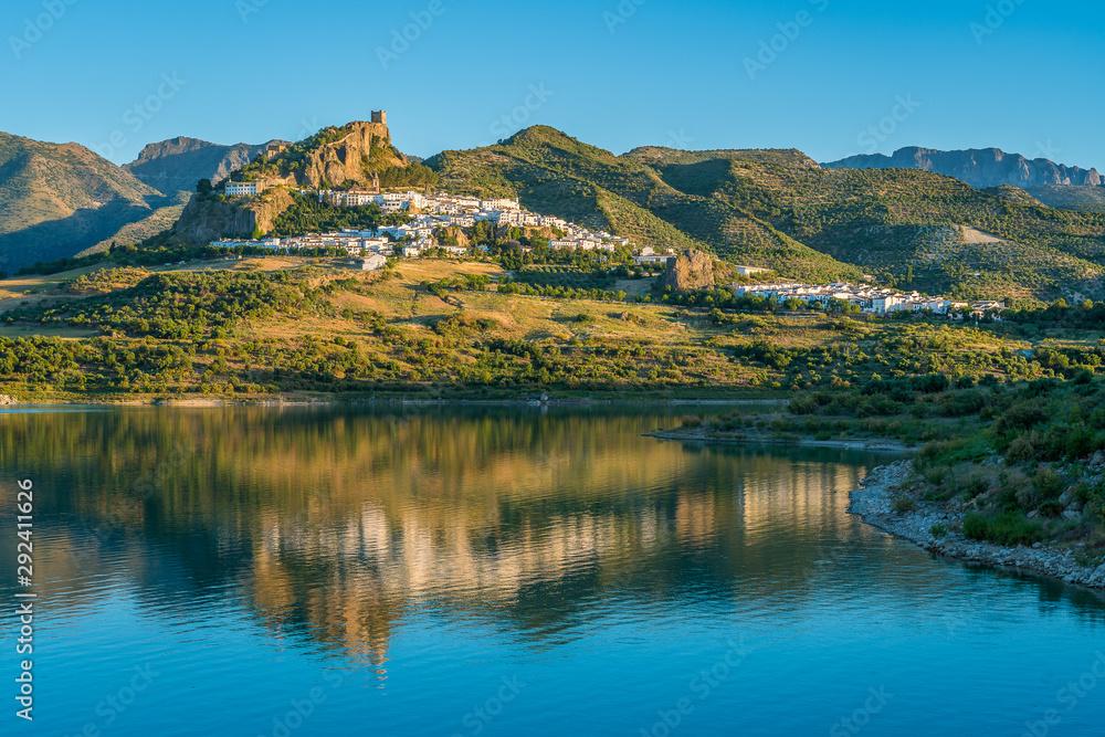 Fototapety, obrazy: Panoramic sight of the beautiful Zahara de la Sierra, province of Cadiz, Andalusia, Spain.