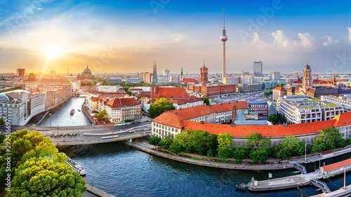 panoramic view at central berlin while sunset Wallpaper Mural