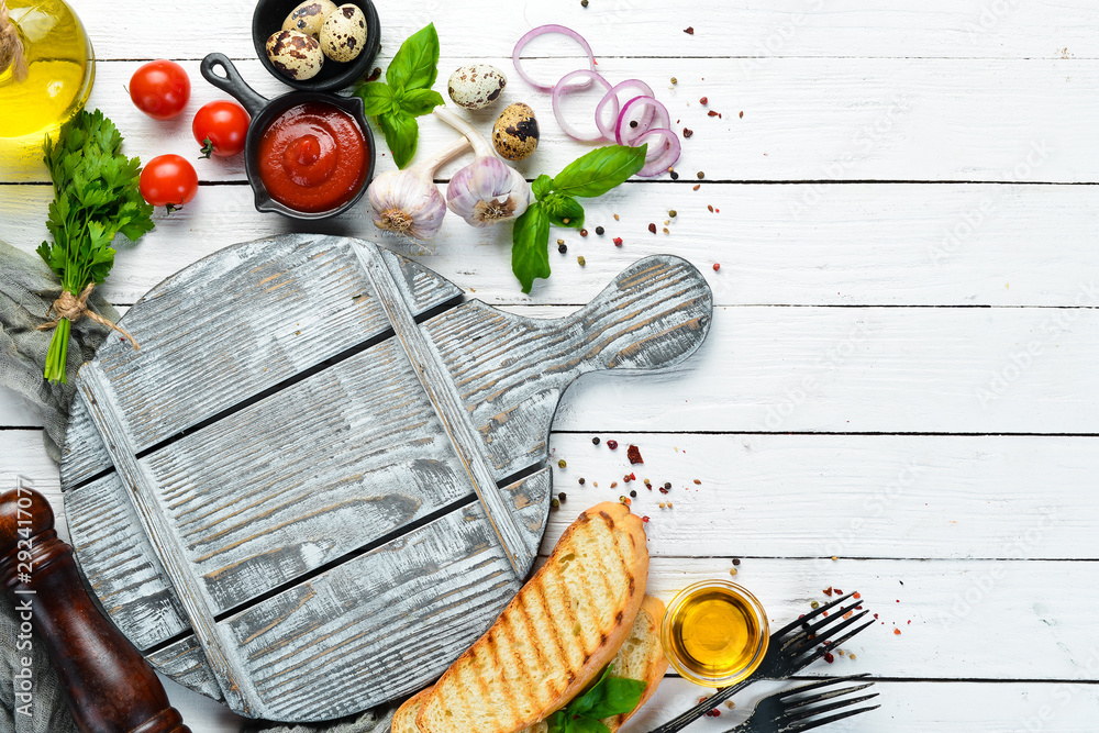 Fototapety, obrazy: Food banner. Vegetables, spices and herbs. Flat lay. Top view. Free copy space.