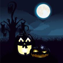 Halloween Dark Night Scene Wit...