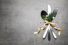 Cutlery Set On Grey Table, Fla...