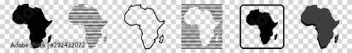 Africa Map | African Border | Continent | Isolated Transparent | Variations