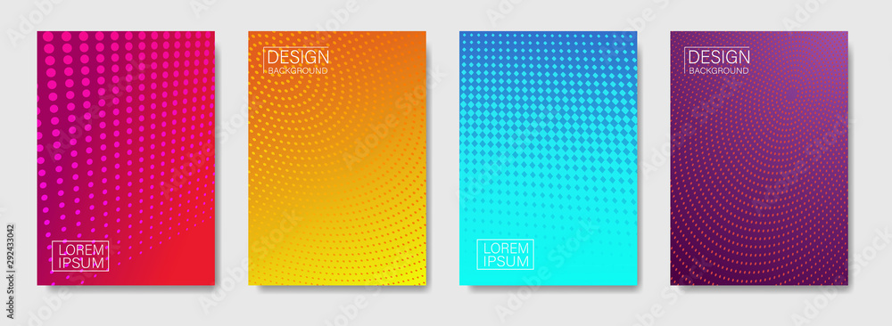 Fototapeta Trendy gradient abstract halftone dots pattern background cover design.Modern geometric cover design with trendy color.Template future geometric pattern for placard, poster. vector