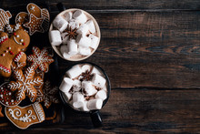 Christmas Home Atmosphere, Cafe, Celebration. Cozy And Warming Winter Drink. Hot Chocolate With Melting Marshmallows And Homemade Delightful Festive Sweets, Copyspace