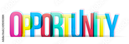 Fototapeta The word opportunity isolated on a white background. Vector colorful letter. obraz