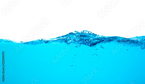 Recess Fitting Water Blue water splash wave surface with bubbles of air on white background.