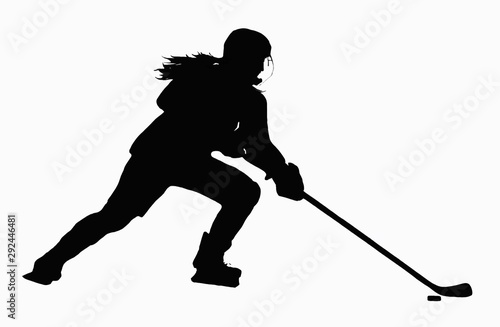 Female Hockey Player with Puck