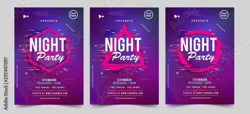 Dance Club Night Party Flyer Brochure Layout Template Canvas-taulu