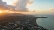 sunset sky samui island beach town coastline aerial panorama 4k timelapse thailand