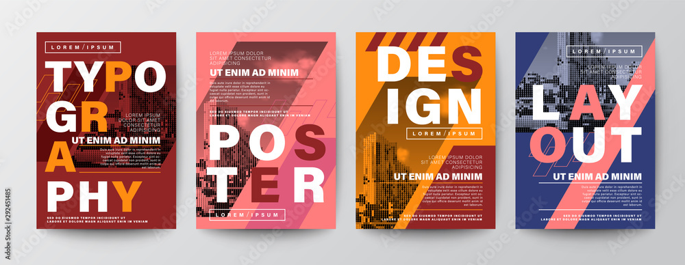 Fototapeta Set of Modern Graphic Design Poster layout. Typography on diagonal grid with red, orange and blue background. Brochure, Flyer, leaflet, Annual report, Book cover, banner. Template in A4 size.