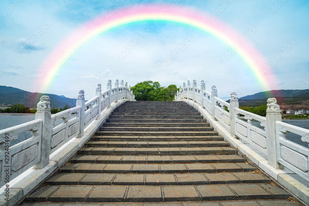 Color rainbow over the bridge