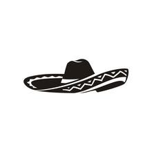 Simple Black Mexican Hat Sombrero Silhouette Logo Vector