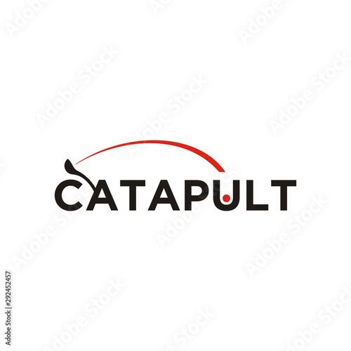 Catapult trebuchet Typography Logo design Fototapete