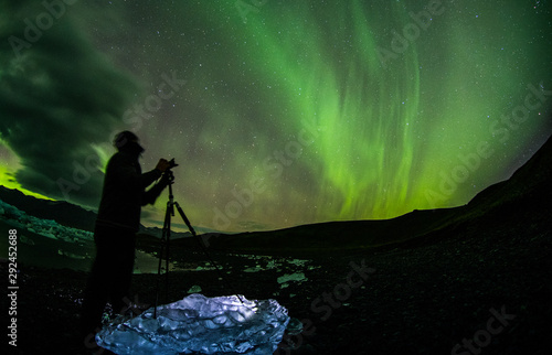 Colorful aurora borealis dancing in the sky Canvas Print