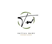 T W TW Beauty Vector Initial Logo, Handwriting Logo Of Initial Signature, Wedding, Fashion, Jewerly, Boutique, Floral And Botanical With Creative Template For Any Company Or Business.
