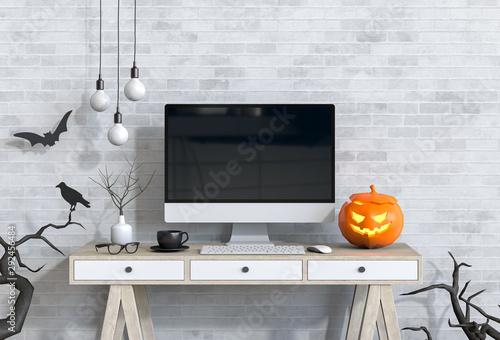 Fotografie, Obraz  Halloween party interior living room with desktop computer and pumpkins