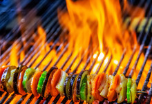 Kebabs Mixed Vegetables Skewers Flaming Charcoal Grill With Open Fire Grilling Barbecue